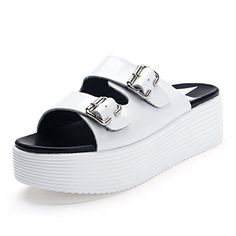 leather platform shoes at the end of outdoor Korean slipper womanFashion flat sandals in the summer thicksoled flipflopsA Foot length238CM94Inch >>> ** AMAZON BEST BUY **