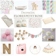 Combinación perfecta para una primera comunión para niña. Flores Shabby Chic, la fiesta más dulce. sólo disponible en www.lafiestadeolivia.com
