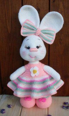 63 Free Crochet Bunny Amigurumi Patterns Crochet Pretty Bunny Amigurumi In Dress – Free Pattern – 63 Free Crochet Bunny Amigurumi Patterns – DIY & CraftsAre you looking for best crochet amigurumi? Checkout these 63 free Crochet Bunny Amigurumi Patte Crochet Amigurumi, Crochet Teddy, Amigurumi Doll, Amigurumi Patterns, Crochet Dolls, Crochet Baby, Knitting Patterns, Knitting Toys, Crochet Simple