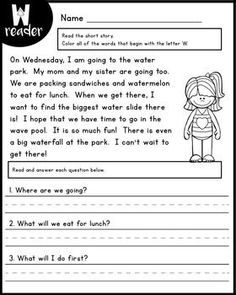 Reading Comprehension Passages - Alphabet Readers by Kaitlynn Albani First Grade Reading Comprehension, Reading Comprehension Worksheets, 2nd Grade Reading, Reading Fluency, Reading Passages, Reading Strategies, Reading Activities, Reading Skills, Teaching Reading