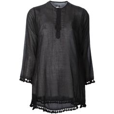 Dosa 'Tassel Kurta' top (424 CAD) ❤ liked on Polyvore featuring tops, black, long sleeve tops, tassel top and dosa
