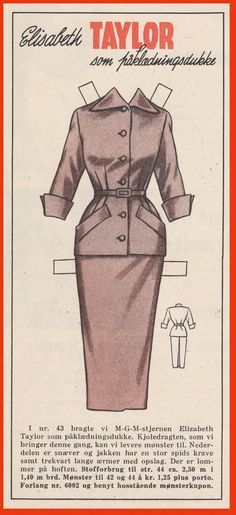 Elizabeth Taylor - weekly magazine Tempo in 1953. *** Paper dolls for Pinterest friends, 1500 free paper dolls at Arielle Gabriel's International Paper Doll Society, writer The Goddess of Mercy & The Dept of Miracles, publisher QuanYin5