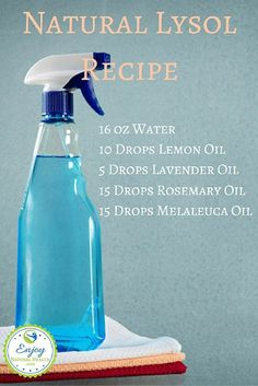 Use this natural version of Lysol to clean your home without having to use toxic products. There are more recipes for natural cleaning products when you click on the image :)