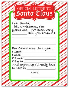 Official Letter to Santa Claus - It's time for your child to write out their Christmas list and I've created a free printable that makes it easy. Winter Christmas, Christmas Time, Holiday, Official Letter, Flashcards For Kids, Yoga Props, Santa Letter, Dear Santa, Free Printables
