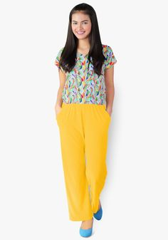 A chic and classy look? It's all in this print and plain jumpsuit. Spandex fabric, gartered waist with side pockets. So stylish you'd want to hop all around the town! Yellow Print, How To Look Classy, Spandex Fabric, Garter, Jumpsuits, Pockets, Chic, Stylish, Pants