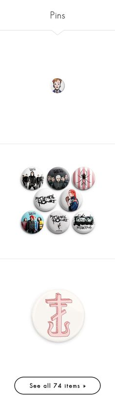 """""""Pins"""" by xxghostlygracexx ❤ liked on Polyvore featuring jewelry, brooches, accessories, pin brooch, pin jewelry, pins, my chemical romance, mcr, buttons and killjoys"""