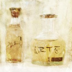 "Yellow and brown rustic home decor art print of two glass bottles with ""arte"" written on one.  Part of a set of three available on fine art america dot com."