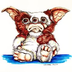 Sad Gizmo #gizmo #art #gremlins #illustrate #illustrator #illustration #handmade #draw #drawing #copicsketch #micron #cute #robisrael #myart #mogwai