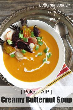 Creamy Butternut Squash, Carrot, & Ginger Soup (Paleo, AIP) - A Squirrel in the Kitchen