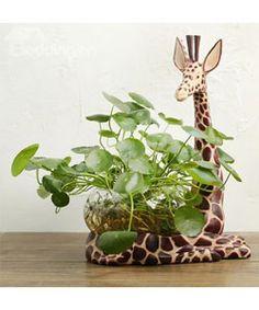 Resin Giraffe Design Base Glass Flower Pot