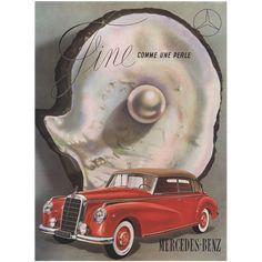 #VintageBeginsHere at www.rubylane.com---  Original Vintage French Advertisement Print for Mercedes-Benz Automobile