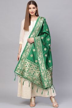 Product Features: Color: Green Fabric: Banarasi Art Silk Dupatta Length: Meters Dupatta Width: 24 Inches Type of Work: Zari Work Product Weight: Kg Disclaimer: Color and Texture may have slight variation due to photography Silk Anarkali Suits, Silk Dupatta, Green Fabric, Silk Fabric, Off White Designer, Green Colors, Green Art, Traditional Sarees, How To Look Classy