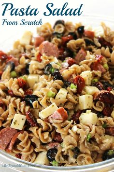 Pasta Salad from Scratch. It's easier than you'd think! I think I'll use cauliflower instead of the pasta and make it low Carb. Food Change, I Love Food, Good Food, Salada Light, Cooking Recipes, Healthy Recipes, Pasta Salad Recipes, Recipe Pasta, Recipe Box