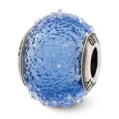 Sterling Silver Italian Blue Textured Glass Bead