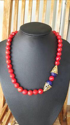 Redcoral, Coral Beads Necklace, Bohem Necklace, Folk Art, Pendant Necklace