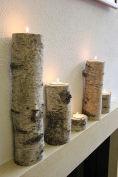 Tealight holder Candlestick made of birch tree trunk – Small Balcony Decor Ideas