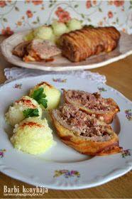 Barbi konyhája: Karajba zárt csülök Meat Recipes, Baked Potato, Bacon, Healthy Living, Food And Drink, Potatoes, Cooking, Ethnic Recipes, Recipes