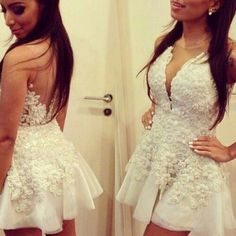 Aliexpress.com : buy 2015 new free shipping custom made sexy v neck appliques above knee mini sleeveless backless a line homecoming dresses from reliable homecoming dresses suppliers on rose wedding dress co., ltd