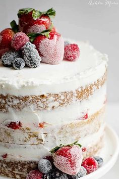 Naked Cake with Sugared Berries  - CountryLiving.com