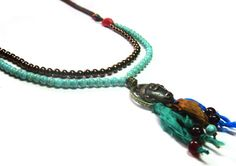 Long Tribal Mask Necklace by HippieThings, $25.00