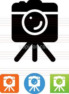 DSLR Camera On Tripod Icon - Illustration