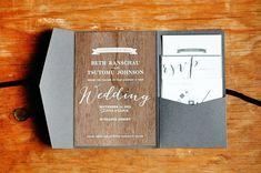 Oh So Beautiful Paper: Beth + Tomu's Woodsy Screen Printed Walnut Wedding Invitations