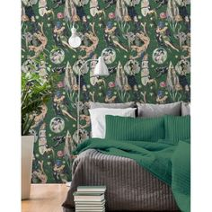 Sci-Fi Comics Wallpaper in Beige, Blue, and Green from the Eclectic Collection by Mind the Gap Decor, Girl Nursery Wallpaper, Burke Decor, Wallpaper Accent Wall, Wallpaper, Interior Walls, Home Decor, Eclectic Design Style, Eclectic Design