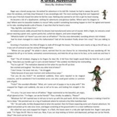 Great Adventure Fifth Grade Reading Comprehension Worksheet