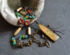 Bohemian beaded necklace Wire wrapped necklace by JeSoulStudio
