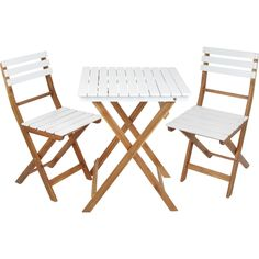 Caféset, Mallorca klappbord + 2 klappstolar i odlad akacia, vit/trä, 3002556-3002557