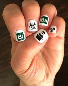 Breaking Bad Nail Decals! Manicure, Breaking Bad, Walter White, Heisenberg, nail polish, nail ideas