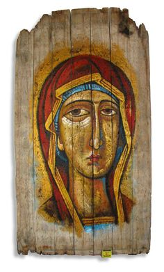 Madonna Icon – Painted in with acrylic paint. Match box shows actual size. <carnegi@mweb.co.za>