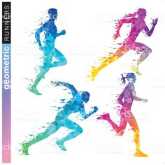 A set of 4 geometric runner formed by triangles in rainbow colors. - geometric runner set in rainbow colors royalty-free geometric runner set in rainbow colors stock ve - Running Art, Running Humor, Running Quotes, Running Motivation, Running Workouts, Running Training, Running Tips, Trail Running, Runner Tattoo