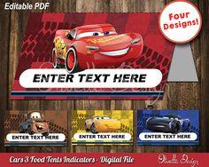 Cars 3 EDITABLE Food Tents Cards Party Ideas