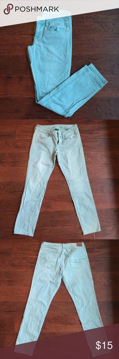 American Eagle Mint Green Skinny Jeans American Eagle - Mint Green - Stretch Skinny Jeans - Size 4 - Regular Length American Eagle Outfitters Jeans Skinny