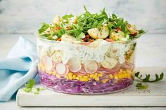 We've taken creamy potato salad to new heights with this amazing layered version, featuring cabbage, corn, radish and rocket. Spring Salad, Summer Salads, Bbq Prawns, Creamy Potato Salad, Zucchini Salad, Easy Pasta Salad, Eating Light, Mango Salad, Chicken Spices