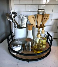 Home Decorating DIY Projects : organize kitchen with counter trays -Read More –