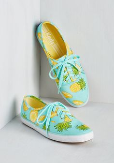 Fruits and Flatters Sneaker in Pineapple - Blue, Yellow, Novelty Print, Casual, Beach/Resort, Fruits, Quirky, Food, Better, Lace Up, Flat, Variation
