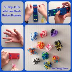 loom band ideas from http://yourtherapysource.com/freeloombands.html