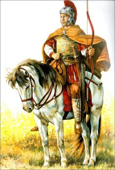 Late Roman bow-armed heavy cavalryman. Unlike this regular Roman cavalryman, Belisarius armed his Bucellarii with both bow and lance; unusual to Roman cavalry of the day. This allowed them to perform both the heavy and light cavalry function. Note the absence of stirrups: these were not introduced in the West for nearly another century, by the Asiatic Avars.