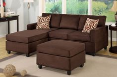 Modern Small Chocolate Microfiber Sectional Sofa Set Reversible Chaise