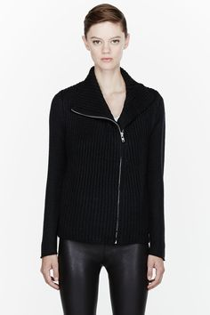 Helmut Lang Black Soft Chainette Zip Cardigan