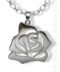 Ciondolo Rosa In Argento, Pendente Rosa, Collana Rosa, Gioielli In Argento, Rose, Rose Pendant