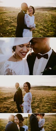 Beautiful wedding couple shoot with white long sleeved wedding dress with lace accents and groom in black suit with bow tie in the fields during golden hour | Dearheart Photos |