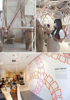 154 pairs of flesh tights make a Arnsforf pop-up shop art installation