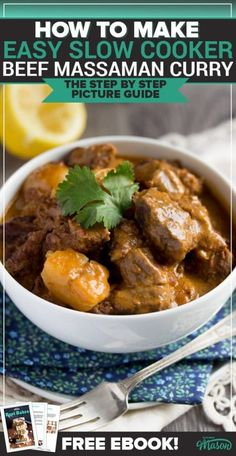 This incredibly easy slow cooker beef massaman curry recipe is SO tasty! With no precooking required, this is the perfect weeknight dinner or even an impressive dinner party recipe! Slow Cooker Curry, Slow Cooker Huhn, Slow Cooker Chicken, Curry Crockpot, Slow Cooker Massaman Beef, Slow Cooked Beef, Crock Pot Recipes, Beef Recipes, Cooking Recipes