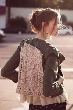 Anthropologie Inspired Open Work Army Jacket!                                                        NO SEWING REQUIRED!                                I love this jacket and since it is no longer in stock, this is an awesome DIY!