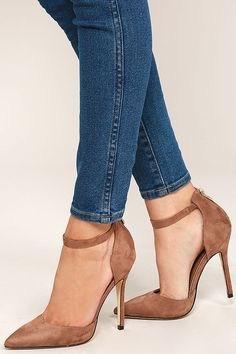 "The Harvest Party Taupe Suede Ankle Strap Heels will add a touch of class to your next holiday celebration! A vegan suede pointed-toe upper has a matching heel cup, with 3"" zipper, and ankle strap."
