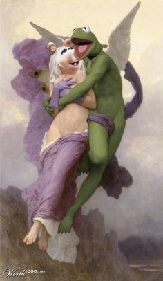 lol miss piggy and kermit as cupid and psyche, truly disturbing Kermit And Miss Piggy, Kermit The Frog, Kermit Gif, Kermit Face, Danbo, Caricatures, Les Muppets, Sapo Meme, Fraggle Rock