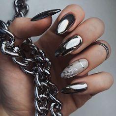 Nagellack Design, Nagellack Trends, Perfect Nails, Gorgeous Nails, Stylish Nails, Trendy Nails, Fancy Nails, Cute Nails, Silver Nails